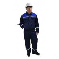 Рабочий мужской костюм из саржи (куртка и брюки / полукомбинезон)